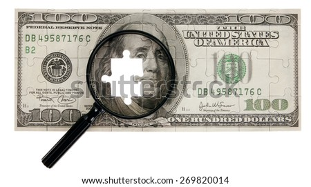 US money Jigsaw Puzzle with Magnifying glass