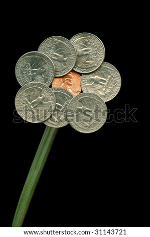 US. national flower. Figure of nickel coins. - stock photo