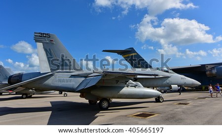 US Navy Boeing F/A-18E/F Super Hornet fighter on display at Singapore Airshow