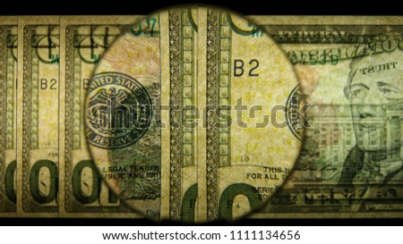 US 10 Obverse Art, Back Lit, Fanned, Black Background, Magnified, Federal Reserve Note,