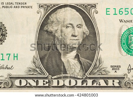 US one Dollar bill, close up photo