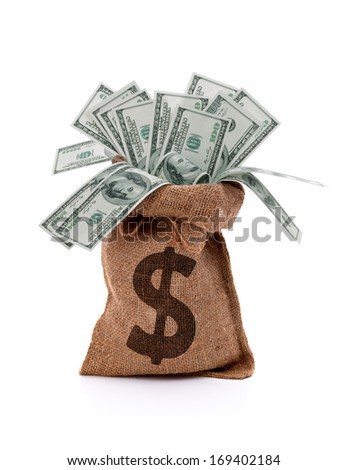 US paper currency one hundred dollar bill money in burlap sack bag - stock photo