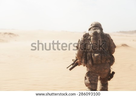 US paratrooper airborne infantrymen during the desert storm - stock photo