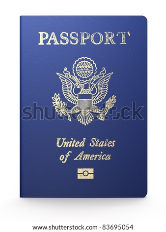 US passport on white background - stock photo