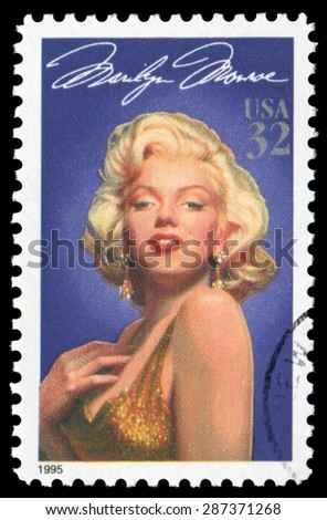 US postage stamp Marilyn Monroe, issued by USPS in 1995. - stock photo