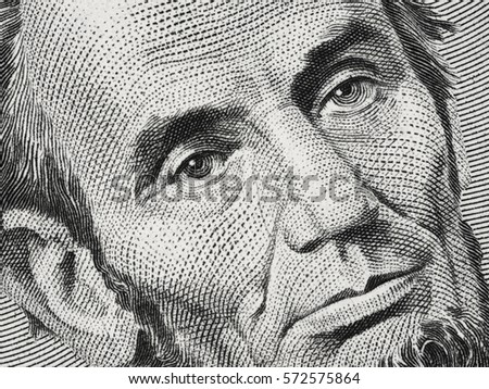 US President Abraham Abe Lincoln on USA five dollar bill extreme macro, 5 usd, United States of America money closeup