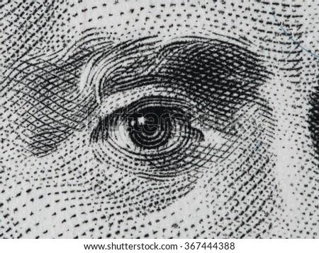 US President Andrew Jackson eye on us twenty dollar bill extreme macro, united states money closeup - stock photo