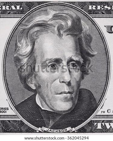 US President Andrew Jackson face on twenty dollar bill macro, 20 usd, united states money closeup - stock photo