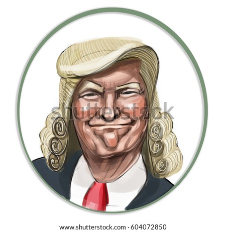 US president Donald Trump with new haircut, drawing