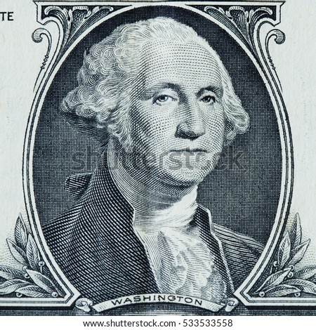 US president George Washington portrait on the one dollar bill macro