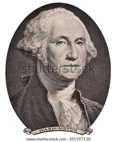 US president George Washington portrait on the one dollar bill macro isolated, united states money closeup - stock photo