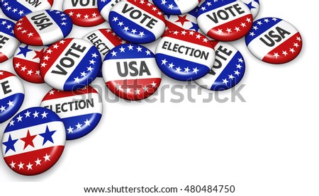 US presidential election in USA concept with sign on campaign badges banner with copy space 3D illustration.