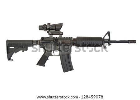 US rifle M4 isolated on a white background - stock photo