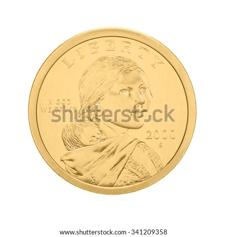 US Sacagawea - one dollar coin, isolated on white - stock photo