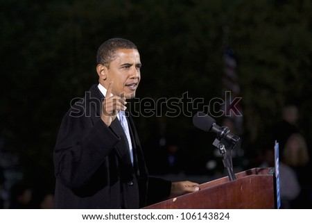 US Senator Barack Obama at Change We Need Presidential rally October 30, 2008, at Verizon Wireless Virginia Beach Amphitheater in Virginia Beach, VA - stock photo