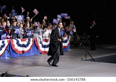 US Senator Barack Obama taking the stage at Change We Need Presidential rally, October 30, 2008 at Verizon Wireless Virginia Beach Amphitheater in Virginia Beach, VA - stock photo