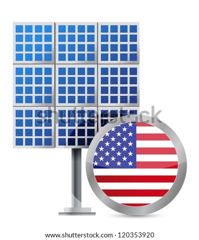 US solar panel illustration design over white - stock photo