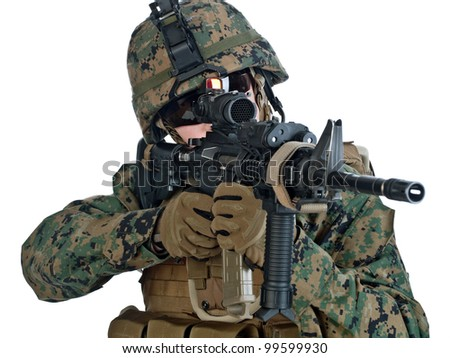 US soldier aiming his assault rifle. White background - stock photo
