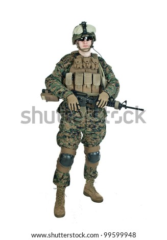 US soldier with his assault rifle on white background - stock photo