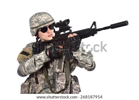 US soldier with rifle on a white background - stock photo