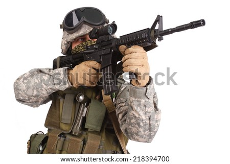 US soldier with rifle on white background