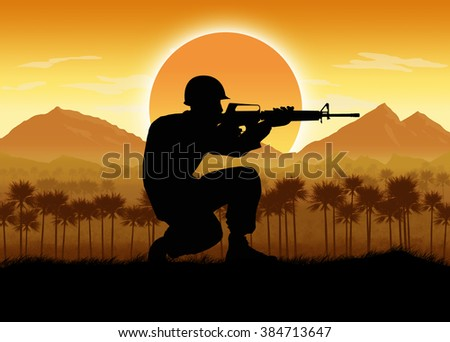 US Soldiers, circa 1960's Vietnam era,  against a mountain and flag background. Digital Illustration.