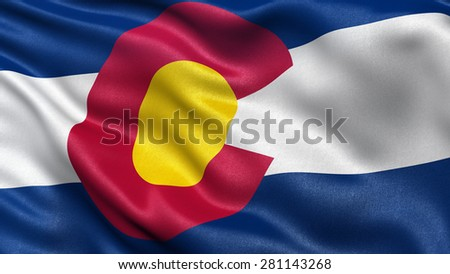 US state flag of Colorado with great detail waving in the wind. - stock photo