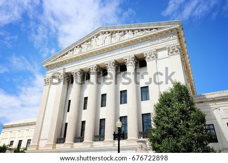 US Supreme Court building in Washington DC, United States of America.