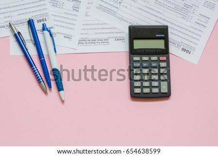 Us Tax Form 1040 Calculator Pen Stock Photo 654638599 Shutterstock