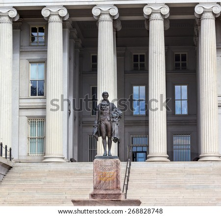 US Treasury Department Alexander Hamilton Statue Washington DC James Fraser Statue dedicated 1923.  Founding father of the United States, first Treasury Secretary in George Washington's cabinet.  - stock photo