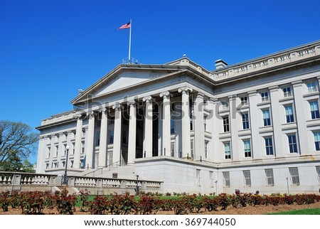 US Treasury Department building in Washington DC - stock photo