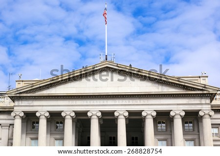 US Treasury Department Pennsylvania Ave Washington DC.  Located next to the White House because President Jackson said he wanted the National Bank to be right there where he could see it. - stock photo