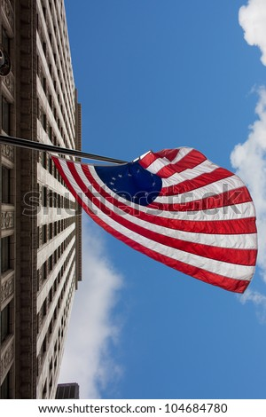 US variant Betsy Ross flag in Chicago - stock photo