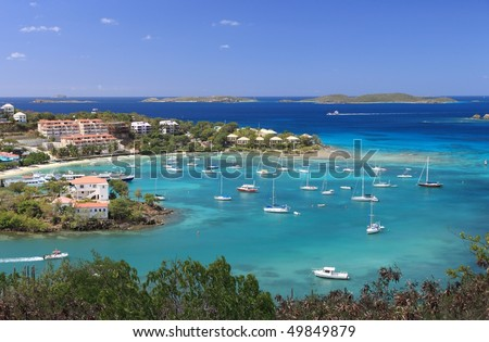US Virgin Islands are true paradise in the Caribbean, Paradise-like US Virgin Islands in the Caribbean. - stock photo