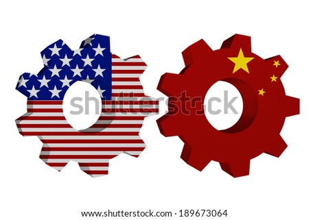 US working with China, Two cogwheel gear mechanism pieces with the US flag and Chinese flag isolated over white - stock photo