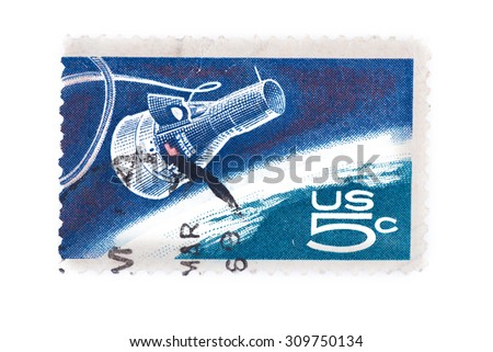"USA  A stamp printed shows ""Friendship 7"" Capsule and Globe, Project Mercury, First orbital flight of a U.S. astronaut - stock photo"