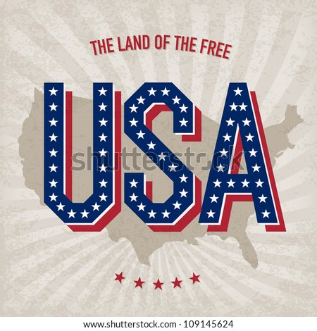 USA abstract poster design. Raster version, vector file available in portfolio - stock photo