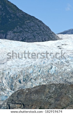 USA Alaska, Tongass National Forest, Mendenhall Glacier Recreation Area, Glacier texture, Travel destination / USA Alaska - Mendenhall Glacier - Texture - stock photo