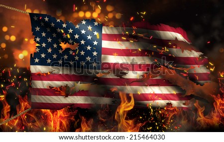 USA America Burning Fire Flag War Conflict Night 3D - stock photo