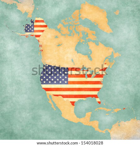 USA (American flag) on the outline map of North America. The Map is in vintage summer style and sunny mood. The map has a soft grunge and vintage atmosphere, which acts as a painted watercolors.  - stock photo