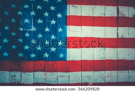 USA, American flag painted on old wood plank background. - stock photo