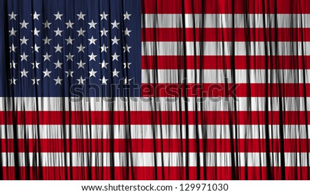 USA American Flag with a folded fabric graphic texture - stock photo
