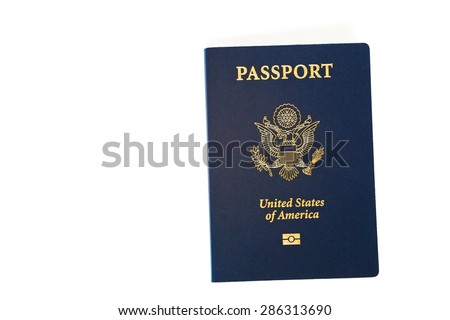 USA american international passport for traveling abroad isolated on white background