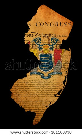 USA American New Jersey state map outline with grunge effect flag insert and Declaration of Independence overlay