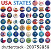 USA American states all flags - alphabetical order. - stock
