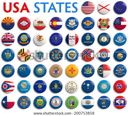 USA American states all flags - alphabetical order.
