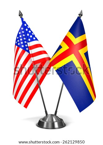 USA and Aland - Miniature Flags Isolated on White Background. - stock photo