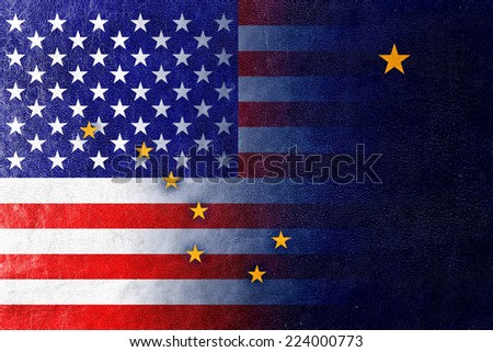 USA and Alaska State Flag painted on leather texture