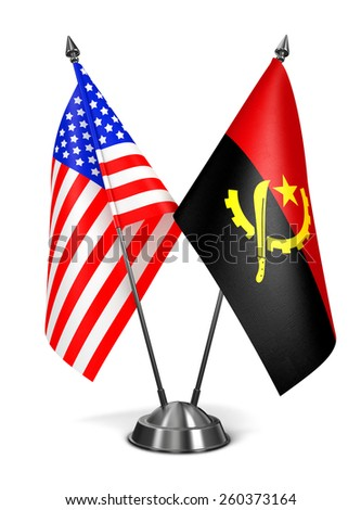 USA and Angola - Miniature Flags Isolated on White Background. - stock photo