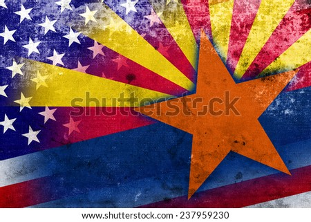 USA and Arizona State Flag with a vintage and old look - stock photo
